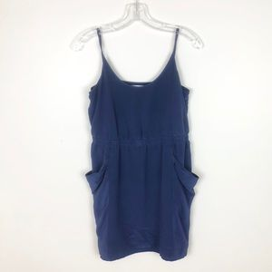 Madewell Eliot Navy Silk Pocket Dress